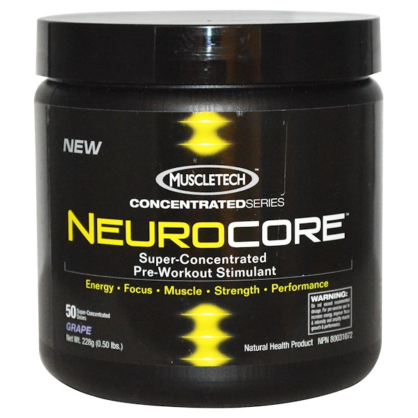 Muscletech, NeuroCore, Super-Concentrated Pre-Workout Stimulant,Grape, 0.50 lbs (228 g) (Discontinued Item)