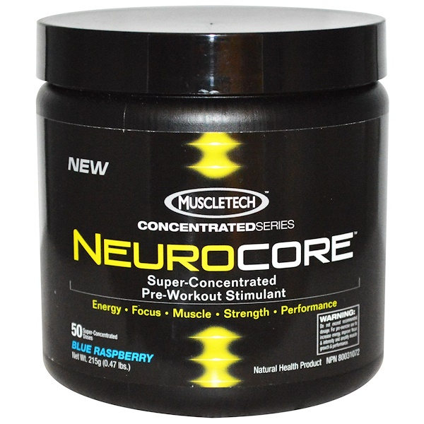 Muscletech, NeuroCore, Super-Concentrated Pre-Workout Stimulant, Blue Raspberry, 0.47 lbs (215 g) (Discontinued Item)