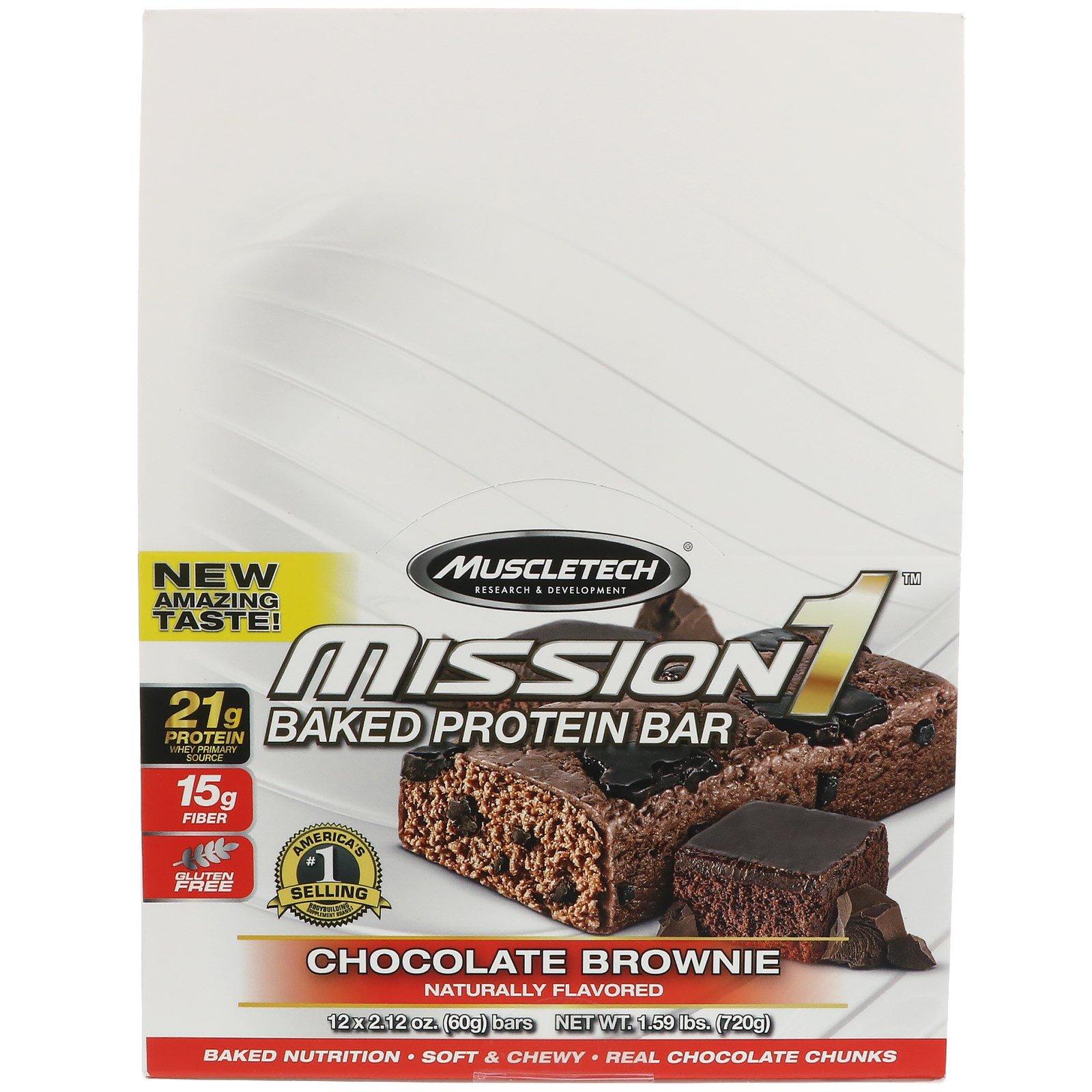 Muscletech, Mission1 запеченный протеиновый батончик, шоколадный кекс, 12 батончиков, 2,12 унции каждый (60 г)