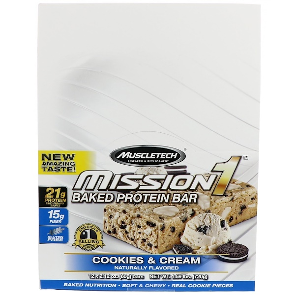 Muscletech, Mission1 Baked Protein Bar, Cookies & Cream, 12 Bars, 2.12 oz (60 g) Each (Discontinued Item)
