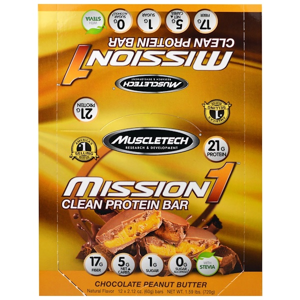 Muscletech, Mission1 Clean Protein Bar, Chocolate Peanut Butter, 12 Bars, 2.12 oz (60 g) Each (Discontinued Item)