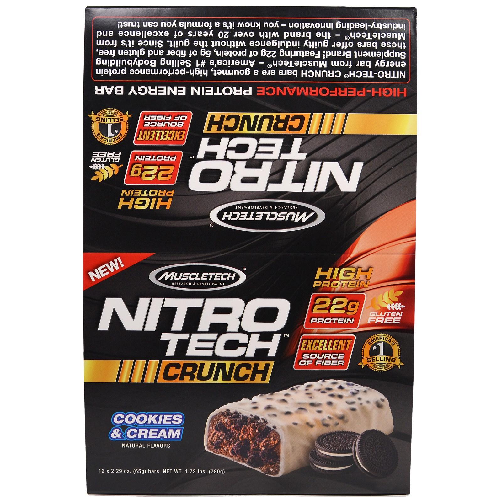 """Muscletech, """"Нитротех"""", хрустящие батончики со вкусом молочного коктейля с шоколадным печеньем, 12 батончиков по 2,29 унций (65 г)"""