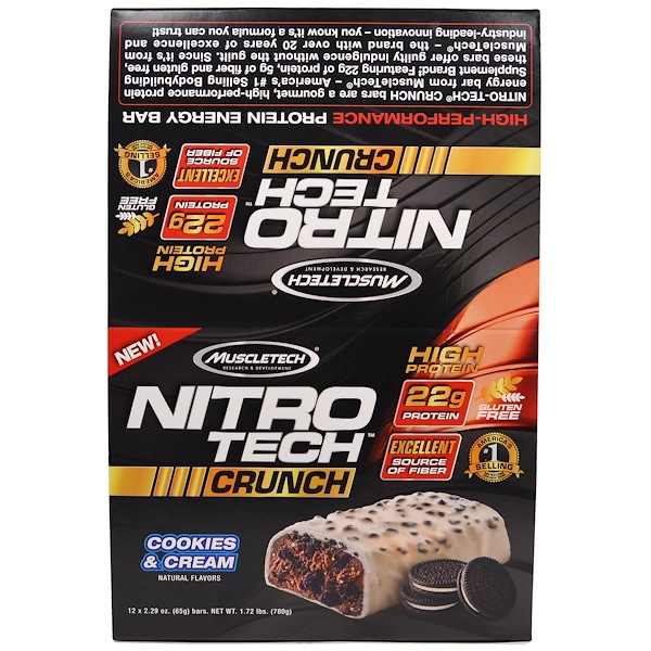 Muscletech, Nitro Tech Crunch Bars, Cookies & Cream, 12 Bars, 2.29 oz (65 g) Each