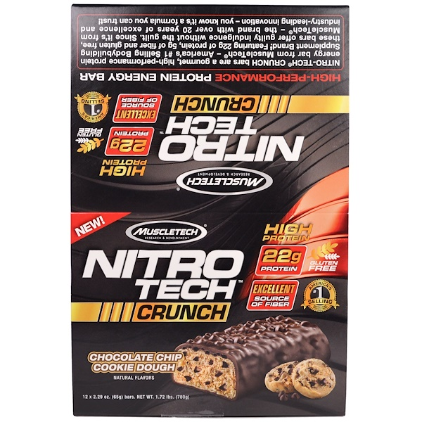 Muscletech, Nitro Tech Crunch Bars, Chocolate Chip Cookie Dough, 12 Bars, 2.29 oz (65 g) Each (Discontinued Item)