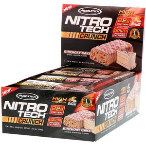 Мусклетек, Nitro Tech Crunch Bars, Birthday Cake, 12 Bars, 2.29 oz (65 g) Each отзывы