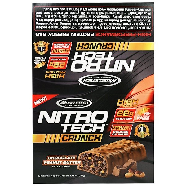 Muscletech, Nitro Tech Crunch Bars, Peanut Butter Chocolate, 12 Bars, 2.29 oz (65 g) Each (Discontinued Item)