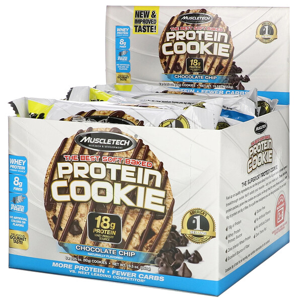 Muscletech, The Best Soft Baked Protein Cookie, Chocolate Chip, 6 Cookies, 3.25 oz (92 g) Each (Discontinued Item)