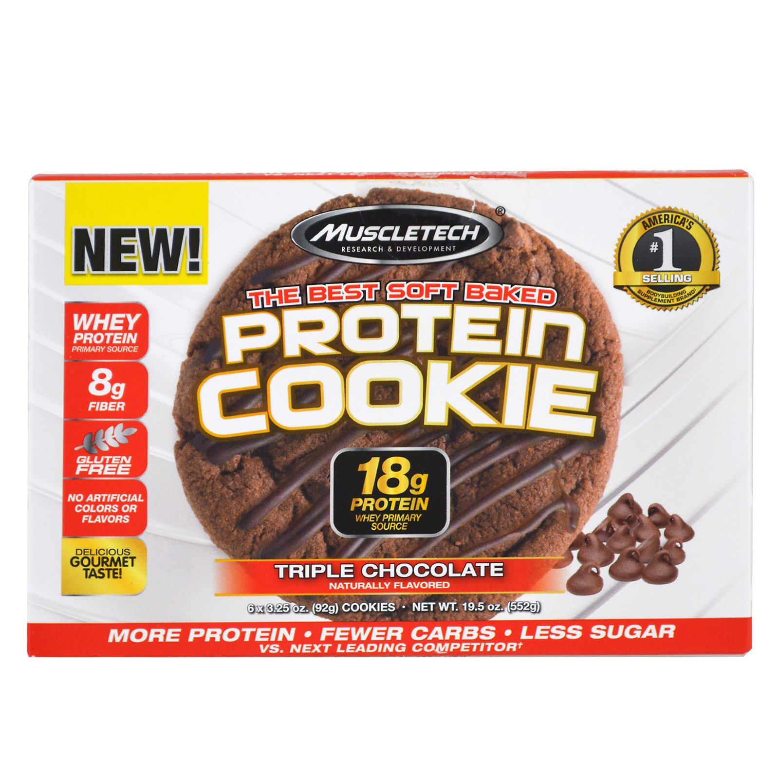 Muscletech, Best Soft Baked Protein Cookie (мягкое печенье с протеином), тройной слой шоколада, 6 шт по 92 г