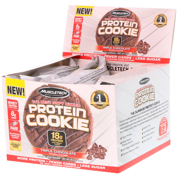 Muscletech, 最高のソフトベークドプロテインクッキー、トリプルチョコレート、6クッキー、各3.25オンス(92g)