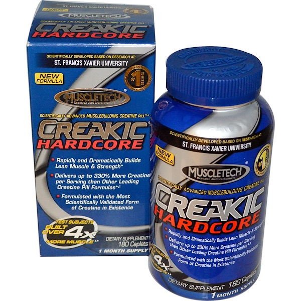 Muscletech, Creakic Hardcore, Musclebuilding Creatine Pill, 180 Caplets (Discontinued Item)