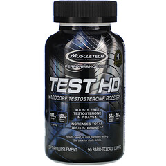 Muscletech, 性能系列,Test HD,硬核睾丸荷爾蒙助推劑,90 粒快速釋放膠囊