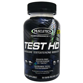 Muscletech, Test HD, Hardcore Testosterone Booster, 90 Rapid-Release Caplets