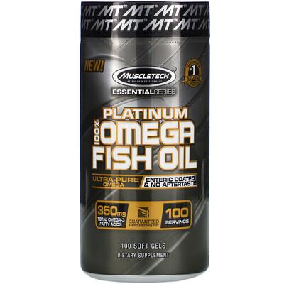 Купить Platinum 100% Omega Fish Oil, Essential (серия), рыбий жир с омега-3 жирными кислотами, 100мягких желейных капсул