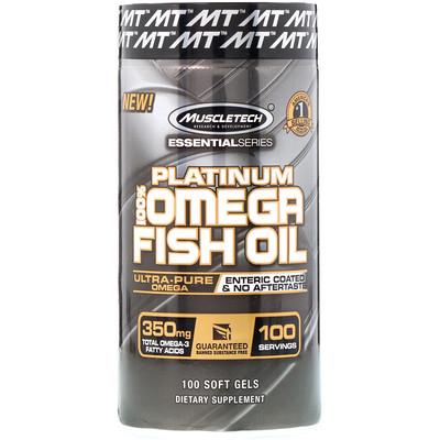 EssentialSeries, Platinum 100%, рыбий жир с омега-3 жирными кислотами, 100мягких желейных капсул  - купить со скидкой