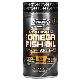 Muscletech, Platinum 100% Omega Fish Oil, Essential (серия), рыбий жир с омега-3 жирными кислотами, 100мягких желейных капсул