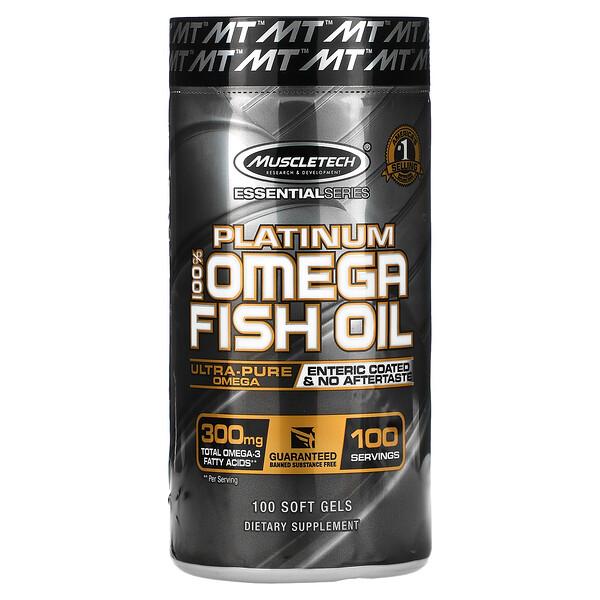Muscletech, 必備系列,鉑金全歐米伽魚油,100 顆軟凝膠