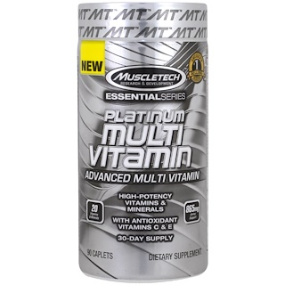 Muscletech, Essential Series, Plantinum Multi Vitamin, 90 Caplets