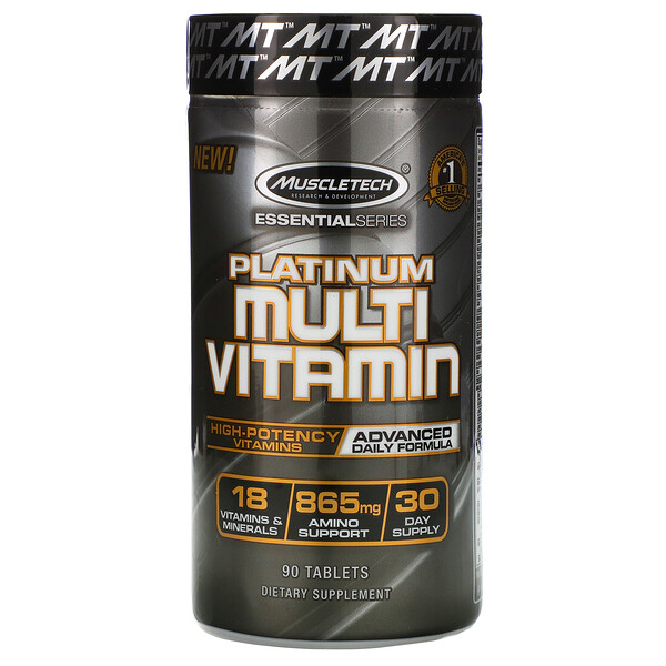 Muscletech, Essential Series, Platinum-Multivitamine, 90 Tabletten