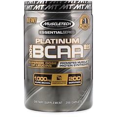 Muscletech, 100% Platinum BCAA 8:1:1, 1,000 mg, 200 Caplets