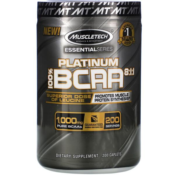 Platinum 100% BCAA 8:1:1, 1,000 mg, 200 Caplets