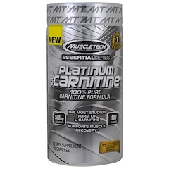 Muscletech, Essential Series, Platinum 100% карнитин, 500мг, 180капсул