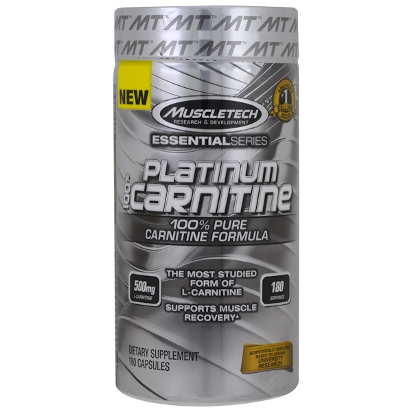 Muscletech, Essential Series, Platinum 100% Carnitine, 500 mg, 180 Capsules