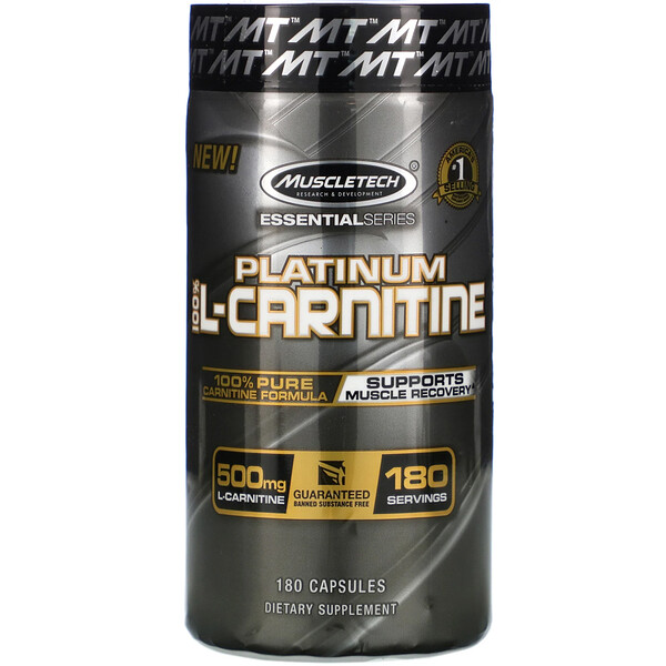 Essential Series, Platinum 100% L-Carnitine, 500 mg, 180 Capsules