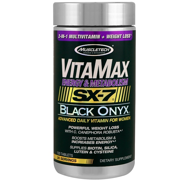 Muscletech, Vitamax, Energy & Metabolism, SX-7 Black Onyx, For Women, 120 Tablets (Discontinued Item)