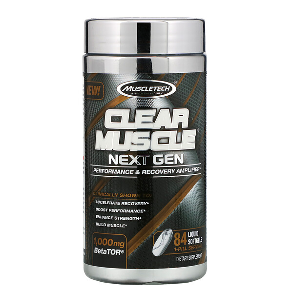 Muscletech, Clear Muscle Next Gen, Performance & Recovery Amplifier, 1000 mg , 84 Liquid Softgels