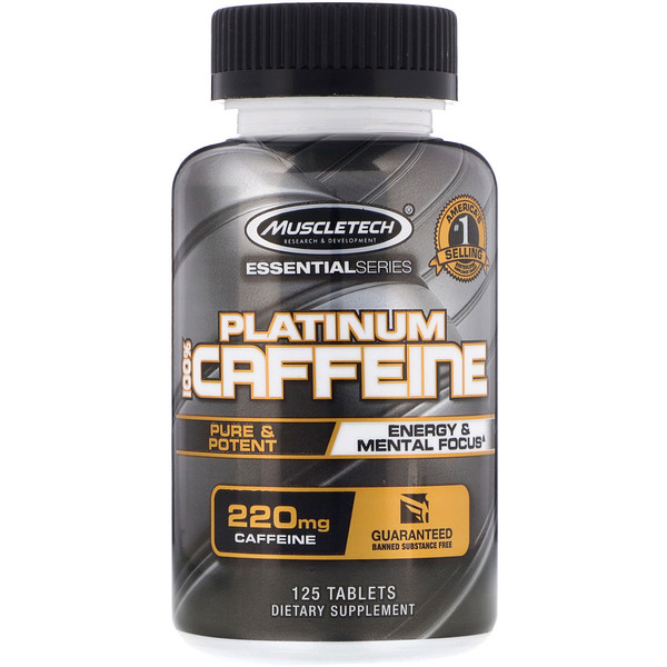 Muscletech, Essential Series, Platinum 100% Caffeine, 220 mg, 125 Tablets