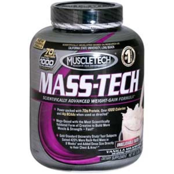 Muscletech, Mass-Tech, Scientifically Advanced Weight-Gain Formula, Vanilla Milkshake, 5 lbs (2.3 kg) (Discontinued Item)