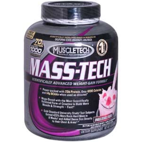 Muscletech, Mass-Tech, Scientifically Advanced Weight-Gain Formula, Strawberry Milkshake, 5 lbs (2.3 kg) (Discontinued Item)