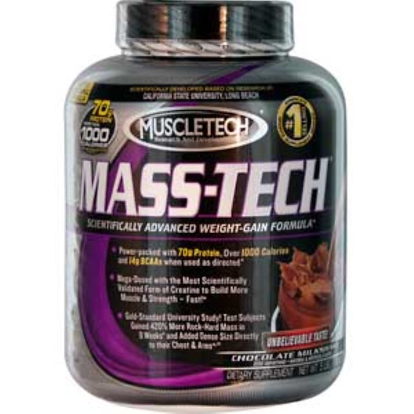 Muscletech, Mass-Tech, Scientifically Advanced Weight-Gain Formula, Chocolate Milkshake, 5 lbs (2.3 kg) (Discontinued Item)