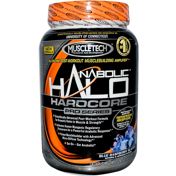 Muscletech, Anabolic Halo Hardcore Pro Series, Blue Raspberry Glacier, 2.0 lbs (920 g) (Discontinued Item)