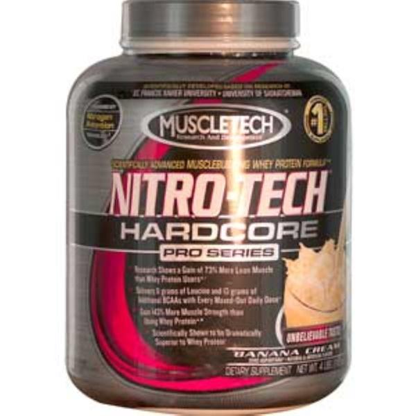 Muscletech, Nitro-Tech Hardcore Pro Series, Banana Cream, 4 lbs (1.8 kg) (Discontinued Item)