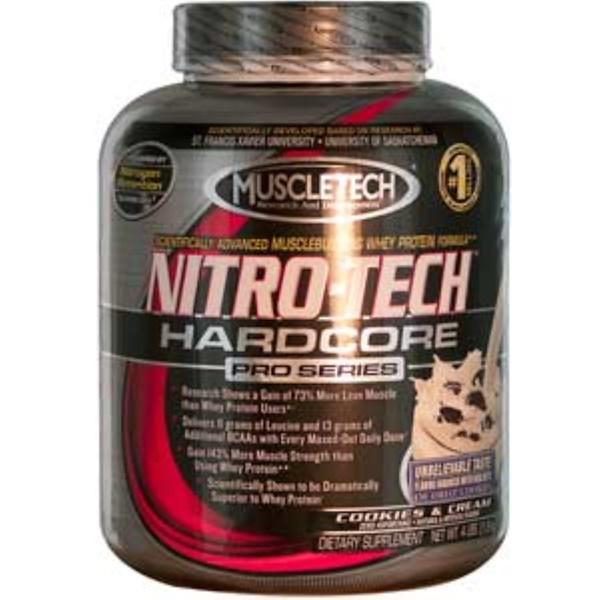 Muscletech, Nitro-Tech Hardcore Pro Series, Cookies & Cream, 4 lbs (1.8 kg) (Discontinued Item)