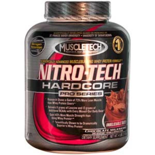 Muscletech, Nitro-Tech, Hardcore Pro Series, Chocolate Milkshake, 4 lbs (1.8 kg) (Discontinued Item)