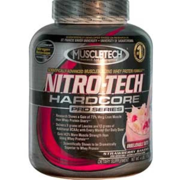 Muscletech, Nitro-Tech, Hardcore Pro Series, Strawberry Banana, 4 lbs (1.8 kg) (Discontinued Item)