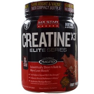 Six Star, Six Star Pro Nutrition, Elite Series, CreatineX3, Fruit Punch, 2.53 lbs (1.15 kg)