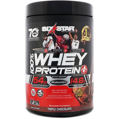Купить Six Star Pro Nutrition, 100% Whey Protein Plus, Elite Series, Triple Chocolate, 2 lbs (907 g)
