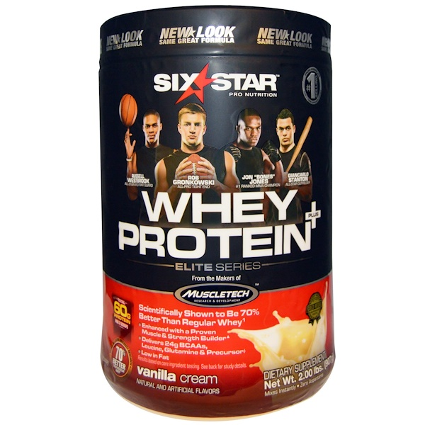 Six Star, Six Star Pro Nutrition, Whey Protein +, Elite Series, Vanilla Cream, 2.00 lbs (907 g)