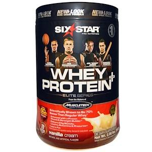 Six Star, Six Star Pro Nutrition, сывороточный белок +, элитная серия, ваниль и сливки, 2 фунта (907 г)