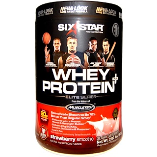 Six Star, Whey Protein Plus, Elite Series, Strawberry Smoothie, 2.00 lbs (907 g)