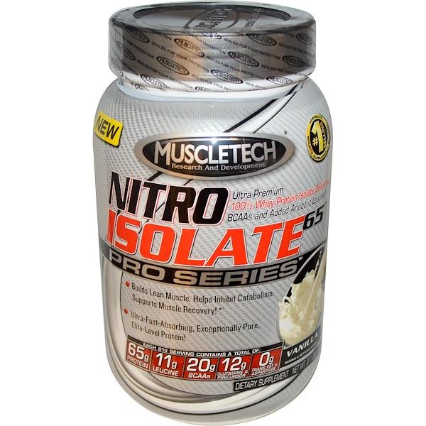 Muscletech, Nitro Isolate 65, Pro Series, Vanilla, 2.1 lbs (932 g) (Discontinued Item)