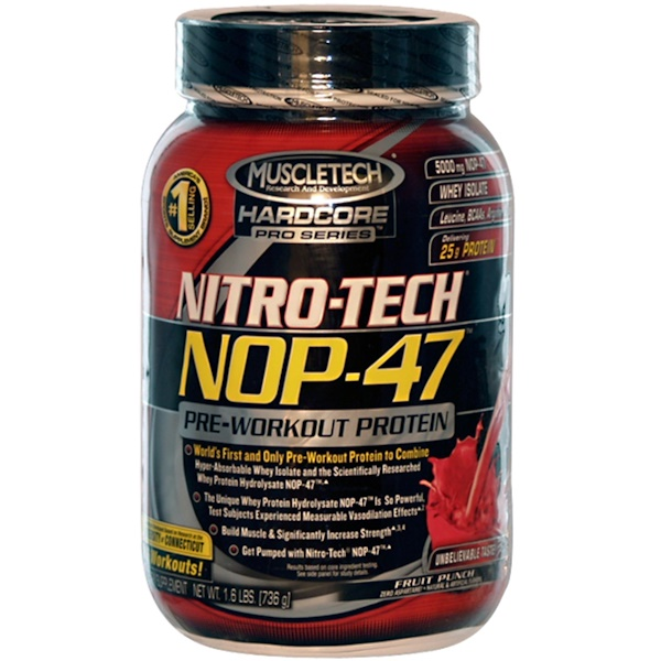 Muscletech, Nitro-Tech, NOP-47, Pre-Workout Protein, Fruit Punch, 1.6 lbs (736 g) (Discontinued Item)