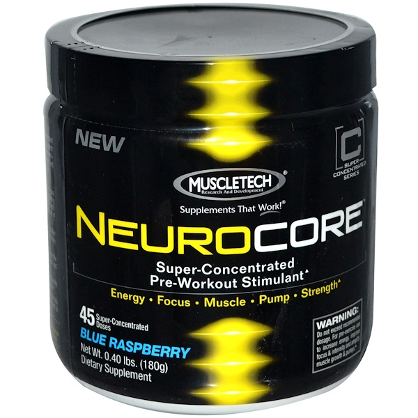 Muscletech, NeuroCore, Super-Concentrated Pre-Workout Stimulant, Blue Raspberry, 0.40 lbs (180 g) (Discontinued Item)