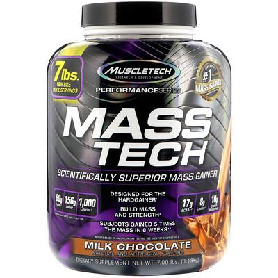 Mass-Tech, превосходный гейнер для набора мышечной массы, протеиновый порошок со вкусом молочного шоколада, 3,18 кг (7 фунтов)