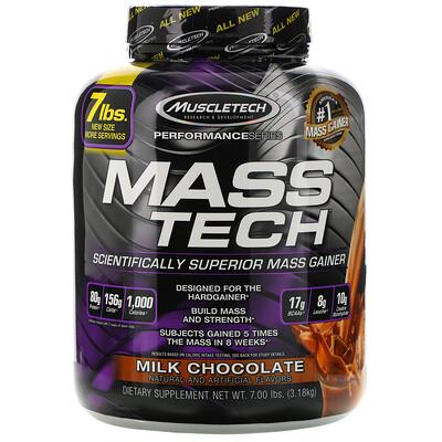 Mass-Tech, превосходный гейнер для набора мышечной массы, протеиновый порошок со вкусом молочного шоколада, 3,18кг (7фунтов)