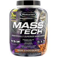 Mass-Tech, продвинутый гейнер для роста мышечной массы, молочный шоколад, 7,05 фунтов (3,2 кг) - фото