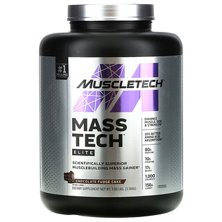 Muscletech, Mass-Tech Elite, Scientifically Superior Musclebuilding Mass Gainer, Chocolate Fudge Cake, 7.00 lb (3.18 kg)